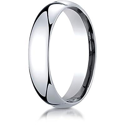 Benchmark Platinum 5mm Slightly Domed Standard Comfort-Fit Wedding Band Ring (Sizes 4 - 15 ) for sale