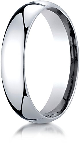 Benchmark 14K White Gold 5mm Slightly Domed Super Light Comfort-Fit Wedding Band Ring, Size 10.5 ()