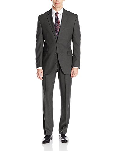 Perry Ellis Men's Slim Fit Suit With Hemmed Pant, Charcoal Grey, 40 Short