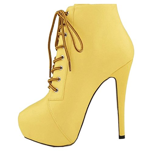 Cuckoo Women's Round Toe Stiletto High Heel Lace up Ankle Boots Yellow 11.5 by Cuckoo