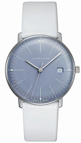 Junghans Max Bill Ladies Quartz Ice Blue Dial Date 047/4659 White Leather Strap