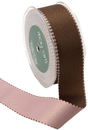 May Arts 1-1/2-Inch Wide Ribbon, Brown and Pink Reversible Grosgrain by May Arts