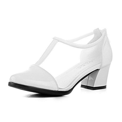Amoonyfashion Kvinnor Pekade-tå Slutna Tå Låga Klackar Pumpar-skor Med Chunky Klackar Och Tillbaka Dragkedja Vit