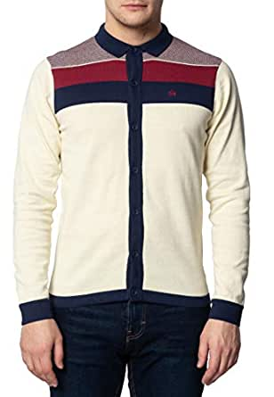 Keble - Polo de Punto para Hombre, Manga Larga, Color Gris Crema ...