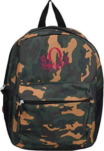 Monogrammed Me Children's Backpack, Green Camo, with Glitter Flower Monogram O -
