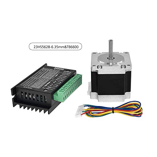 Leslaur Aibecy 23HS5628 Stepper Motor 6.5mm Shaft Diameter TB6600 Stepping Motor Driver Controller with 30cm Motor Leads for CNC and 3D Printer Parts Set