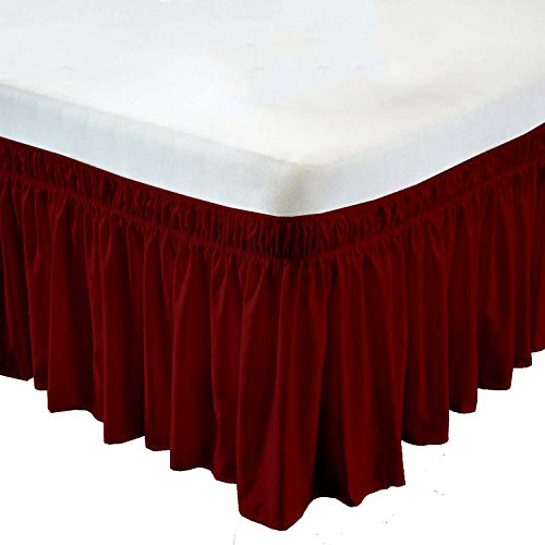 (Wrap Around Bed Skirt- 21 Inch Drop Length Style Easy Fit Elastic Bed Ruffles Bed-Skirt Wrinkle Free Bed Skirt - Burgundy, Cal King in All Bed Sizes and Colors)
