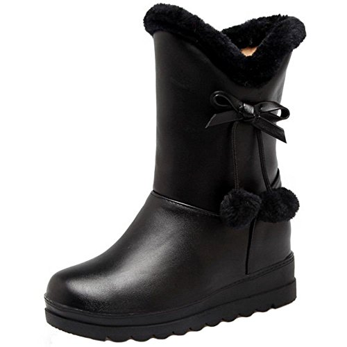 Lined COOLCEPT Boots Women Black Warm Pull On wwqXARg