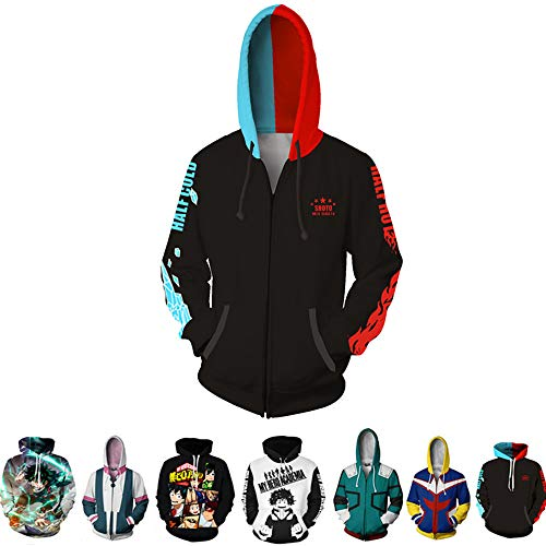 3D Hoodie Boku No Hero Academia My Hero Academia Izuku Midoriya Hoodies Cosplay Costume Training Jacket Unisex (Black+red, M) (Best Cosplay Costume Shop)