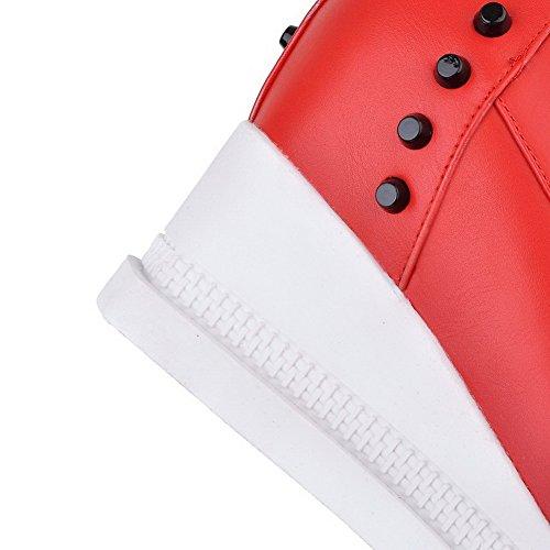 AllhqFashion Mujeres Material Suave Cordones Puntera Redonda Tacón Alto Caña Baja Botas Rojo