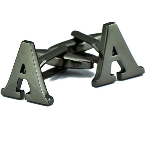 Adisaer Cufflinks Black Copper Letter A Mens Wedding Party Cufflink ()