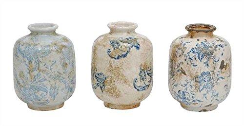 Blue & White Squat Transferware Pattern Terra Cotta Vases - Set of 3