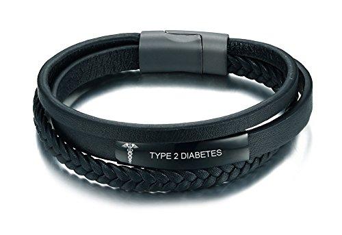 VNOX Unisex Type 2 Diabetes Black Handmade Braid Genuine Leather Medical Symbol Alert Cuff Bangle Bracelet