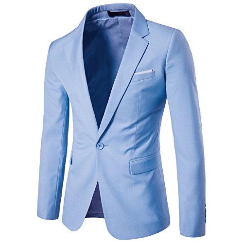 YFFUSHI Lapel Mens Fit Blazer Suit One Button Light Slim Notched Blue rIrURB