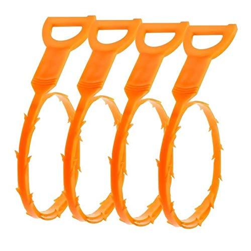 J&T Drain Snake Hair Drain Clog Remover Cleaning Tool-Easiest Way Hair Drain, 4 Pack