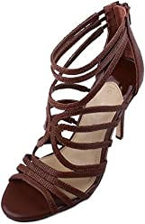 Gianni Bini Tianna Womens Shu Brown Leather Strappy Dress Sandals