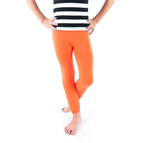 soho-kids-stretch-lace-hem-leggings-neon-orange-7-12yrs