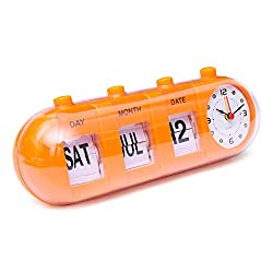 KISSTAKER Flip Clock, Retro Manual Flip Desk Alarm Clock Digital Quartz Day Date Calendar Display Home Decor