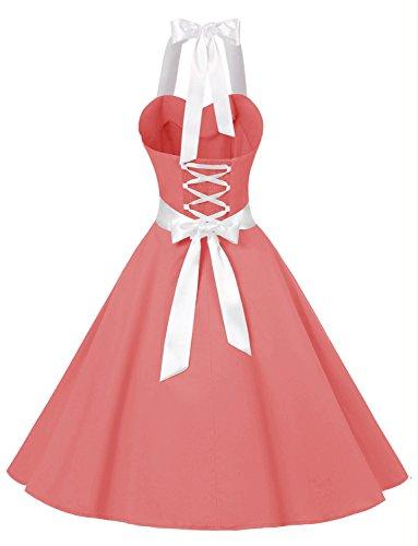 Vintage y Lunares Cuello 60s Vestidos Halter Corto Coral Mujer Retro Solid Estampado Flores Rockabilly 50s Dressystar Fiesta 7qY80nxY