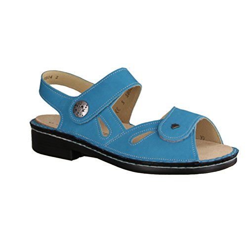Finn Comfort Costa - Zapatos mujer Sandalia cómodo / relleno suelto, Azul, cuero (nubuc)