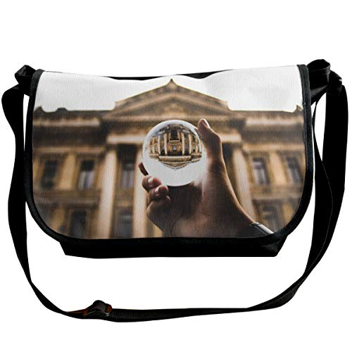 Bafrsc Clear Glass Ball On Person's Hand Printed Wide Cross Body Bag with Adjustable Shoulder Strap, Outdoor, Travel, School, 6.3