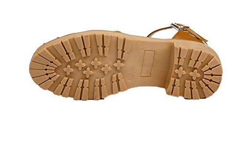 Cuir AgooLar Talon Couleur d'orteil Ouverture Jaune à Femme Bas Sandales Unie PU UrqrxnIw7F