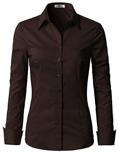 Doublju Womens Slim Fit Stretchy Cotton Long Sleeve Office Formal Dress Shirt Brown Medium ()