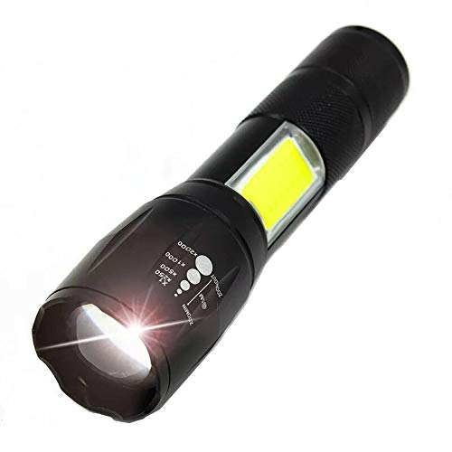 LED Tactical Flashlights Included Battery Waterproof High Lumens Flashlight with COB Side Light for Camping Hiking and Outdoor USB Rechargeable Flashlight Zoomable 3 Models