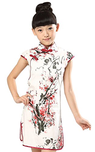 Suimiki Girls Kids China Style Chinese Qipao Floral Cheongsam Mini Dress, A, 140 (Chinese Dresses Chinese Dress)