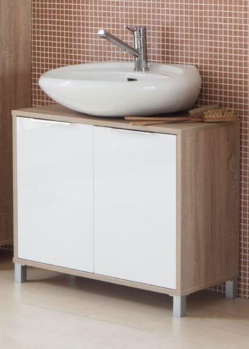 mobile da bagno sottolavabo con 2 ante rovere e bianco 80x35x65h cm