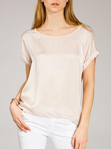Manches lgante BLU017 Dos Viscose pour Courtes avec Soie T Femme en Fashion Shirt en Caspar Lgre en CASPAR Soie Rose Et Blouse nw8FPEEqxf