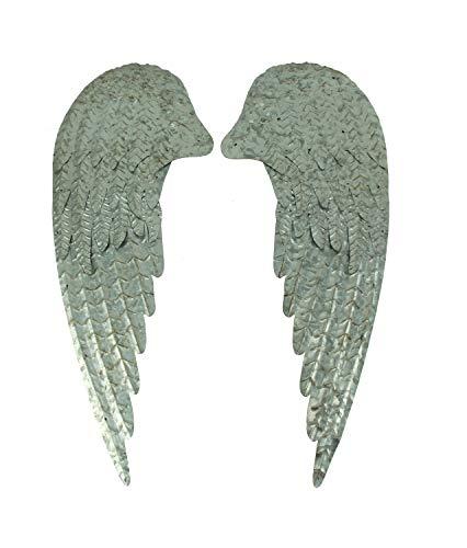 Zeckos Rustic Galvanized Metal Rustic Angel Wings Wall Decor Set