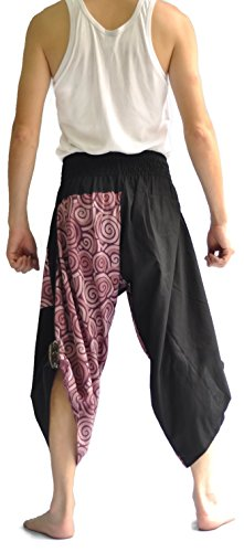 Siam Trendy Mens Harem Pants Design Japanese Style Pants One Size Black and Circle Design (Purple) by Siam Trendy (Image #4)