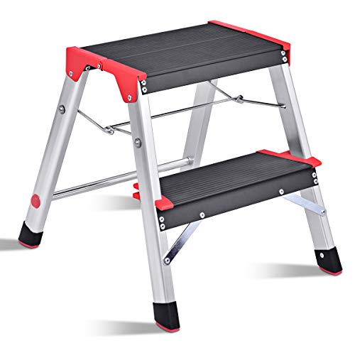 Giantex Aluminum 2 Step Ladder Folding Non-Slip Lightweight 330lbs Capacity Platform Stool Folding Stepladder Step Stool with Non-Slip Pedal and Wide Pedal for Household Work - Wardrobe Rack Aluminum