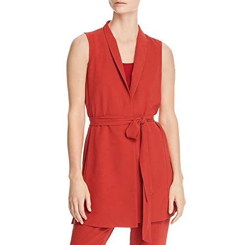 Eileen Fisher Long Silk - Eileen Fisher Womens Petites Silk Sleevless Wrap Top Orange PP