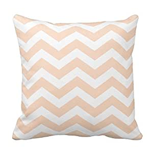 Chevron Pillow Cover For Living Room, Sofa, Etc In Peach And White