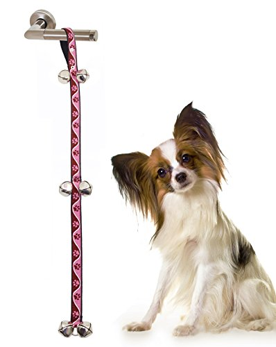BIG SMILE PAW Dog Door Bell for Training,Paw Print Patterned Nylon Strap (Pink paw print)
