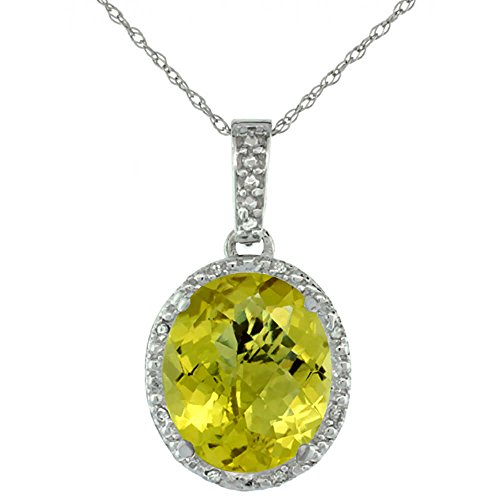 Or blanc 9 carats Pendentif Quartz Citron Naturel ovale 12 x 10 mm et Accents de diamant