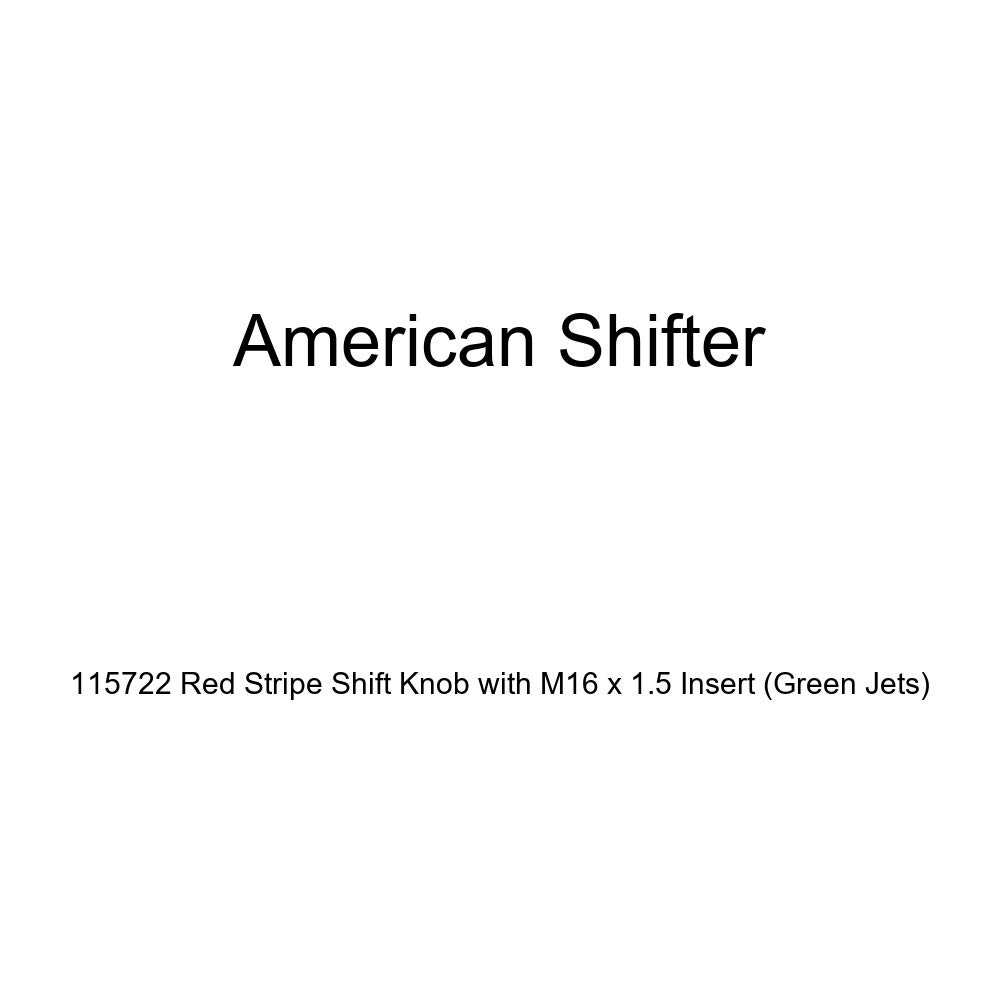American Shifter 115722 Red Stripe Shift Knob with M16 x 1.5 Insert Green Jets