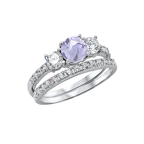 Blue Apple Co. 3-Stone Wedding Bridal Set Ring Band Round Simulated Lavender 925 Sterling Silver, Size-9