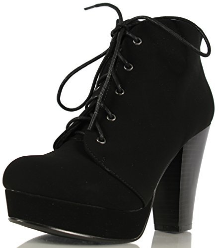 SODA Women's Agenda Ankle Lace Up Platform Chunky Heel Ankle Bootie, Black, 8.5 M ()