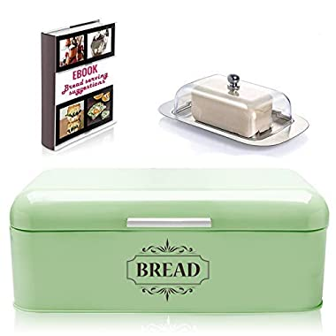Vintage Bread Box For Kitchen Stainless Steel Metal in Retro Green + FREE Butter Dish + FREE Bread Serving Suggestions eBook 16.5  x 9  x 6.5  Large Bread Bin storage by All-Green Products