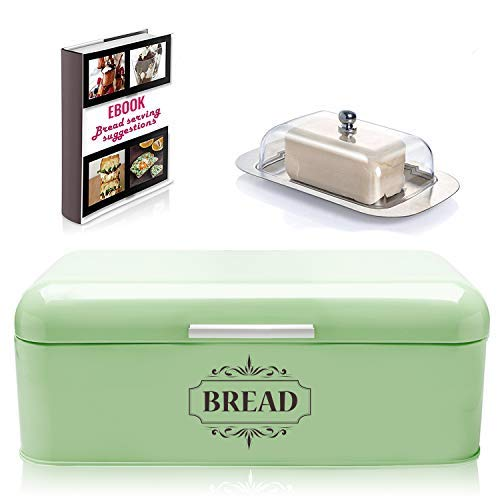 Vintage Bread Box For Kitchen Metal in Retro Green with Butter Dish