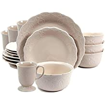 The Pioneer Woman Cowgirl Lace 12-Piece Dinnerware Set (Linen)
