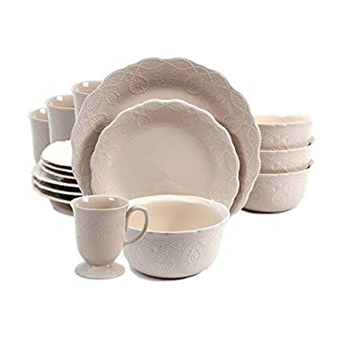 The Pioneer Woman Cowgirl Lace 16-Piece Dinnerware Set Bundle, Linen