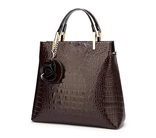 Rosa De Con Bolso Mano Diseño Brown Colgante Negro Cocodrilo YwZxBA