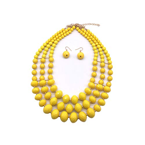 Halawly 6 Colors Acrylic 3 Layered Beads Statement Strand Necklaces for Women Jewelry (Yellow)