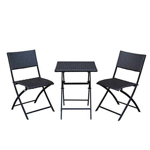 SunLife Bistro Sets, Outdoor Folding Table with Chairs Set,