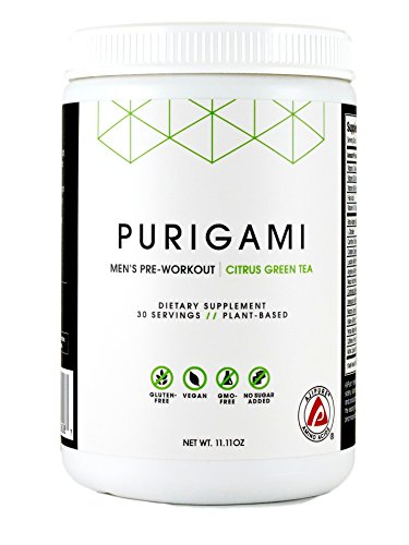 Purigami Pre-Workout for Men - Next Gen Natural Clean Pre-Workout Powder, Tri-Source Sustained Energy, Vegan, Non-GMO, Natural Flavor & Sweetener - 315 grams powder