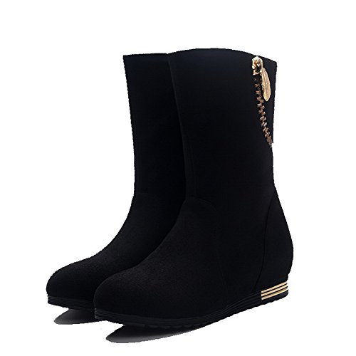 top Low AgooLar Suede Low Boots Black Solid Heels on Imitated Women's Pull wFqzfB